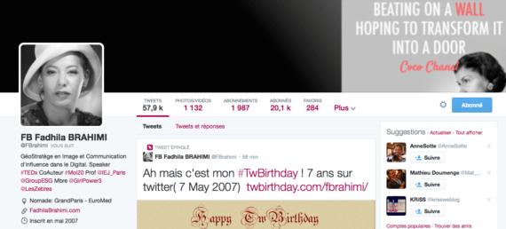 Profil de Twitter Fadhila Brahimi