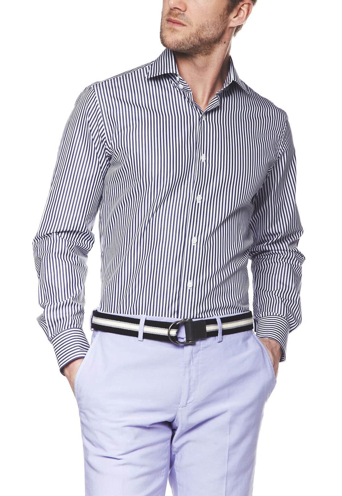 chemise homme manches longues coupe ajustee col napoli popeline bleu marine  fonce raye coton face alain
