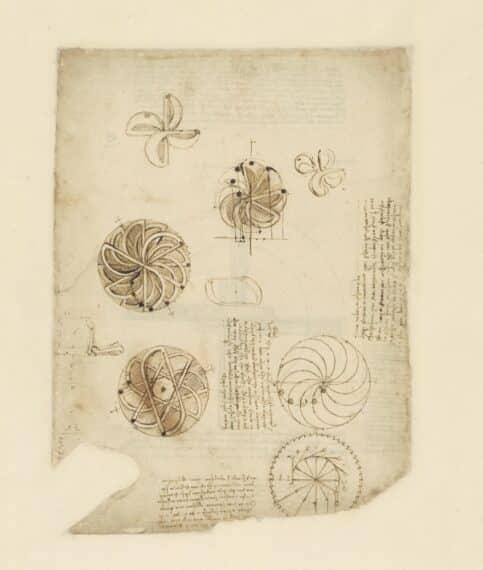 Léonard de Vinci Étude pour un appareil mû par le mouvement perpétuel c. 1495 • Plume et encre • 244 x 333 mm Veneranda Biblioteca Ambrosiana, Milan, CA f. 1062v
