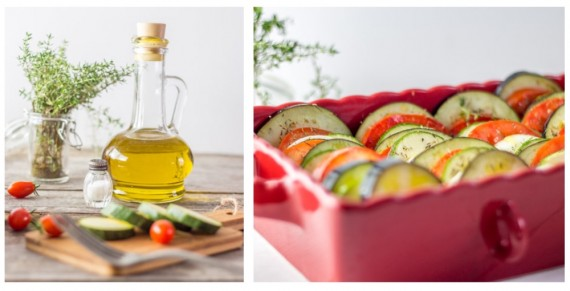 un tian de légumes à l'huile d'olive